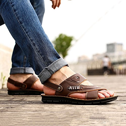 Sandali YQQ Estate Spiaggia Antiscivolo Pelle Scarpe Uomo Per Maschili Fondo Accogliente Casual Da Morbido In Da Scarpe Marrone Scarpe Massaggio Sottopiede Pantofole rqAOrwv