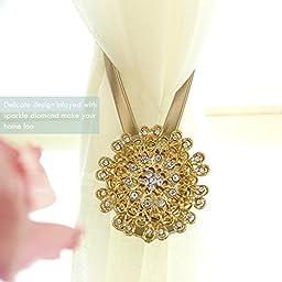 DDSKY Set of 4 Curtain Tiebacks Clips Magnetic Decorative Drapes Holdbacks Curtain Tieback with Crystal Diamond(Gold)