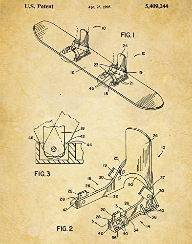 Snowboard Bindings Patent Wall Art Print - one (11x14) Unframed - wall art decor for any snowboarder (Flat Snowboard Binding)