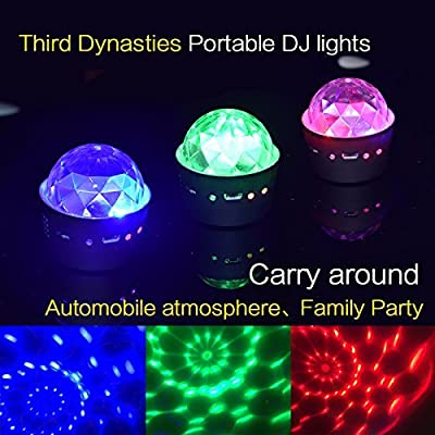 Mini Disco Light, Miuko Sound Activated Multi-Color Battery Operated Disco Ball Light, Festival Party Light, Led Stage Light, Car Decoration Light