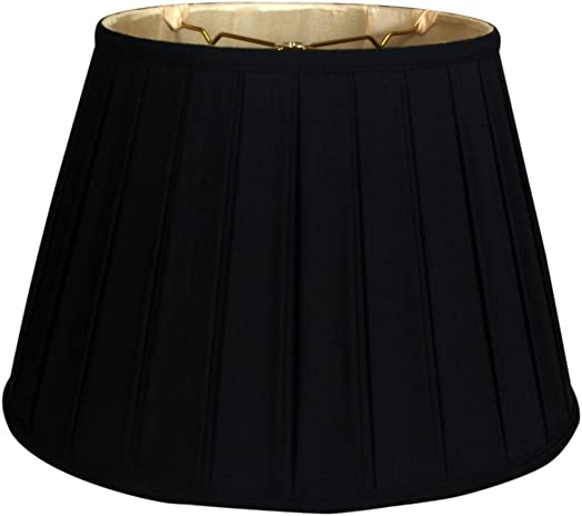 Royal Designs Empire English Pleat Basic Lamp Shade, Black Gold 12.5 x 20 x 13.5