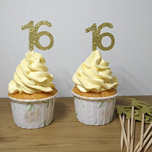 Giuffi Set of 24 Golden Number 16 Cupcake Toppers Sweet 16th Birthday Celebrating Party Decors - (Sweet 16 Cupcakes)