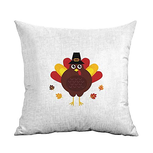 warmfamily Simple Pillowcase Turkey Cartoon Style Pilgrim Bird with Hat Fun Animal Character American Tradition Mildew Proof W24 xL24 Maroon Red Yellow