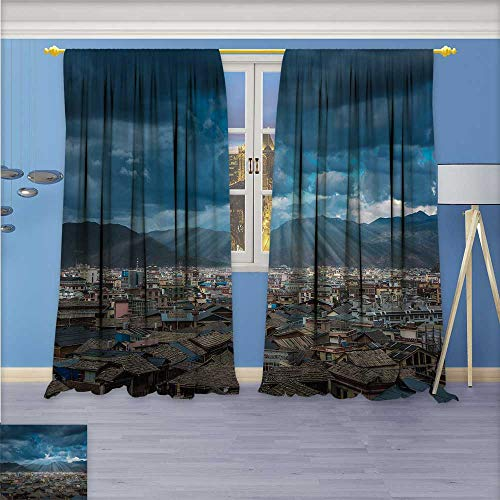 aolankaili Design Print Grommet top Thermal Insulated Shangri La Ring Linen Room Darkening Curtains 108W x 72L Inch ()