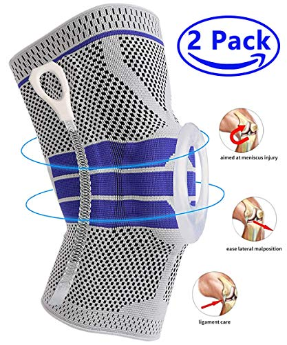 Knee Brace Compression Sleeve, Elastic Knee Wraps Patella Stabilizer with Silicone Gel & Spring Support, Hinged Kneepads Knee Protector for Meniscus Tear Arthritis Running Men Women - X Large