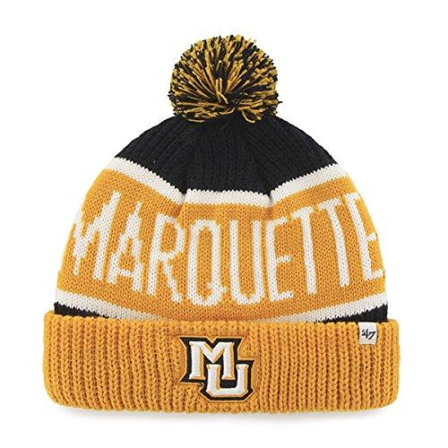 "Marquette Golden Eagles Yellow Cuff ""Calgary"" Cuffed Beanie Hat with Pom - NCAA Cuffed Winter Knit Toque Cap"