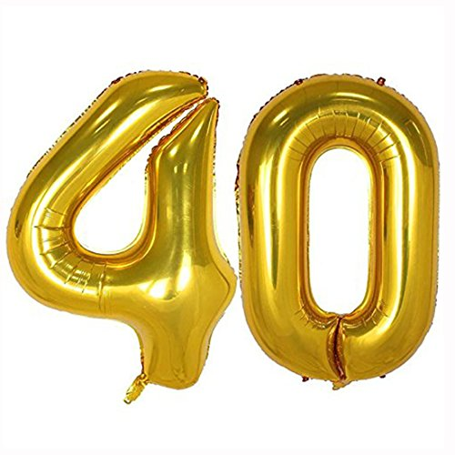 40inch Gold Foil 40 Helium Jumbo Digital Number Balloons, 40th Birthday Decoration for Women or Men, 40 year old Birthday Party Supplies (40 Year Old Party Decorations)
