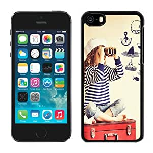 New Beautiful Custom Designed Cover Case For iPhone 5C With Look Out Cute Sailor Girl Phone Case