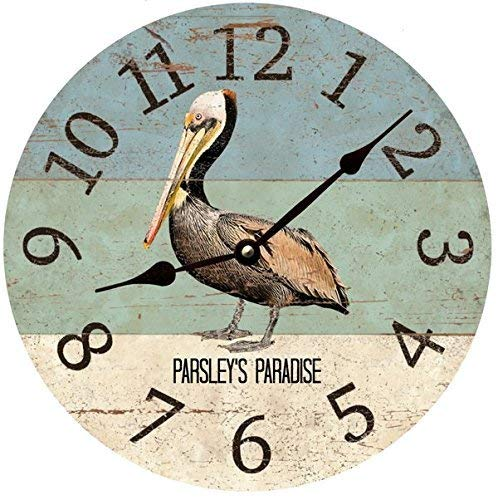 Personalized Pelican Clock - Personalized Beach Themed Pelican Wall Clock