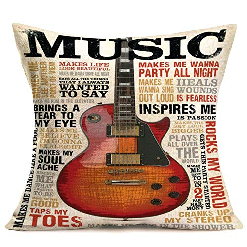 Hopyeer Vintage Quote Music Theme Decor Throw Pillow Covers Cotton Linen Lettering Around Music Instruments Guitar Pattern Standard Pillowcase Decorative Couch MusicRoomBed 18x18 Inch (M-Guitar)