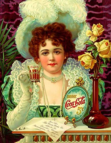 """Drink Coca-Cola 5¢: The Coca-Cola Company: Retro Art Gift Writing Journals & Notebooks: 8.5""""x11"""" (21.59cm x 27.94cm) 110 Journaling Pages To Write In ... & Art Lovers (Cool Retro Art Decor Journals)"""