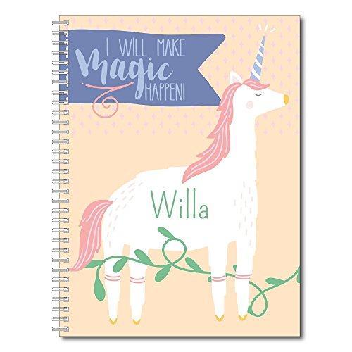 """Make Magic Personalized Notebook/Journal, Laminated Soft Cover, 120 College Ruled or Bullet Journal pages, lay flat wire-o spiral. Multiple sizes, 8.5"""" x 11"""", 5.5"""" x 8.5"""". Made in the (Covered Notebook)"""