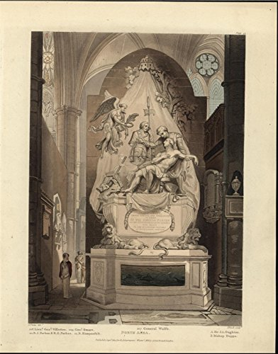 Monument James Wolfe Westminster Abbey 1812 antique aquatint Ackermann print