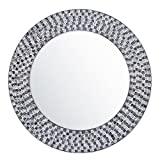 DecorShore 20 Inch Framed Decorative Multicolor Jewel Tone Accent Mirror, Round Decorative Wall Mirror w/ Embossed Glass Mosaic Tile Frame (Dark Gray & Silver) For Sale