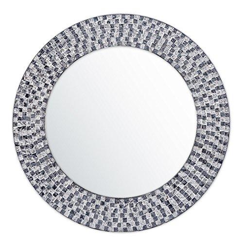 DecorShore 20 Inch Framed Decorative Multicolor Jewel Tone Accent Mirror, Round Decorative -