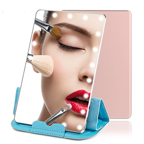 Blue Wind Lighted Makeup Mirror, Daylight LED Travel Vanity Mirror with 21 Lights,Rechargeable 7.9″ Illuminated Mirror with Touch Screen Dimming, Portable Cosmetic Mirror for Purse