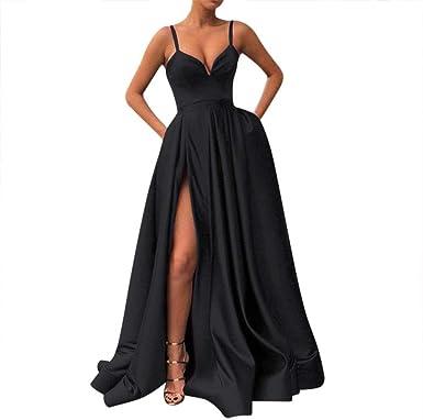 xiaoquya Vestido Largo de Raso para Mujer - Negro - 42: Amazon.es ...