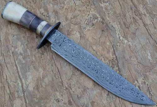 REG-35, Handmade 15.00 Inches Damascus Bowie Knife Colored Bone Handle