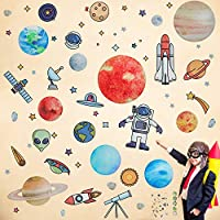 2 Sheets Outer Space Wall Decals Solar System Wall Stickers Planet Wall Decals Peel and Stick Decal for Kids Bedroom Nursery Baby Room Classroom