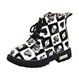 LNGRY Shoes,Toddler Kids Baby Girls Boys Halloween Skull Print Lace Up Zip Martin Boots Casual Shoes (12-18 Months, Black)