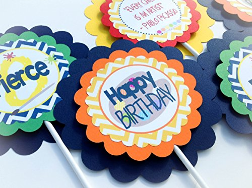 3 Centerpieces or Cake Toppers - Art Studio Happy Birthday Collection - Navy Blue and Yellow Chevron & Orange, Red and Spring Green Accents - Party Packs Available from Emerald City Paperie
