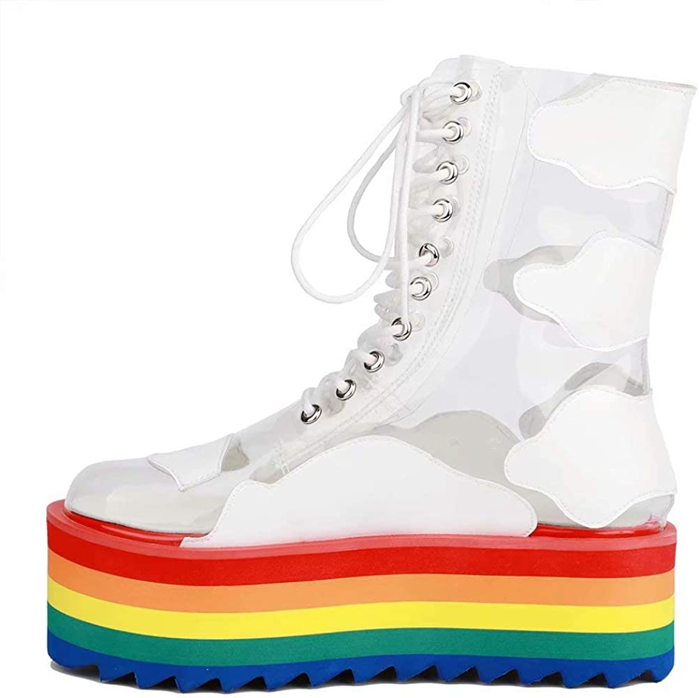 Women Platform Rainbow Ankle Boots