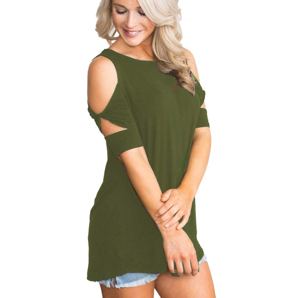 Xavigio_Women Tops Women's Off Shoulder O-Neck Short Sleeve Solid Casual Tunic for Leggings Loose T-Shirt Top Army Green