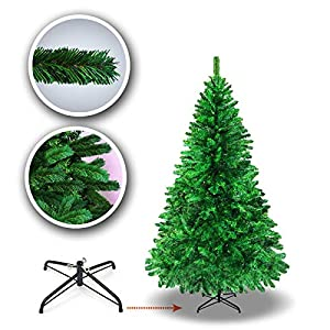 BenefitUSA 5' 6' 7' 7.5' Classic Pine Christmas Tree Artificial Realistic Natural Branches-Unlit with Metal Stand 101