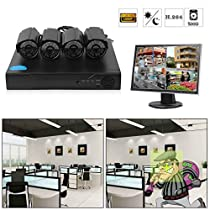 Security Indoor Outdoor Wide Viewing Angle Night Vision Cameras System Home DVR 500G,4-Channel 1080P HD Video Security System CCTV DVR Hard Drive Surveillance Night Vision Security Camera System