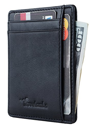 (Travelambo RFID Front Pocket Minimalist Slim Wallet Genuine Leather Small Size (vintage wax black))