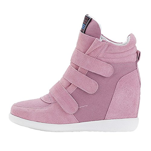 Loop Pink1 Hidden Risamrt Hook Fashion Women Sneakers Middle Suede Wedge Classic Upper Heel amp; 4aqRnva