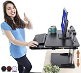 The UpTrak Metro Standing Desk & Bonus Keyboard Tray | Sit-to-Stand Desk Converter by Award-Winning Stand Steady | Spring-Assisted LIFT! Height Adjustable Sit Stand Desk for Cubes & Offices! (Black)