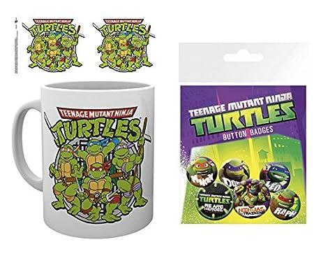 1art1 Las Tortugas Ninja, Retro Taza Foto (9x8 cm) Y 1 Las ...