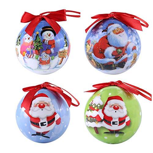 Christmas Balls Ornament Shatterproof Snowman Santa Claus Tree Ball for Xmas Trees, Parties, and Holiday Festival Decoration Total 4PCS (B) ()
