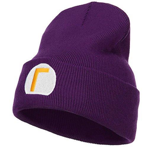 E4hats Mario Luigi Wario Waluigi Embroidered Long Beanie - Purple - Purple Luigi