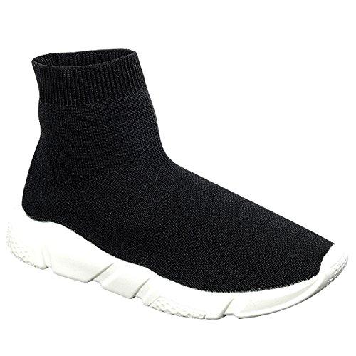 Snj Kvinna Hög-top Sticka Elastiskt Tyg Socka Fit Komfort Mode Sneakers Svart