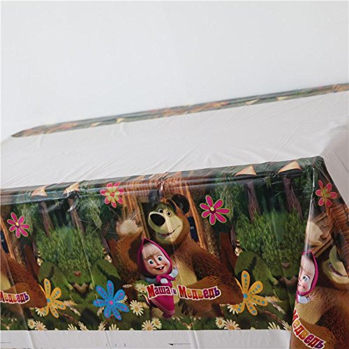 [RusToyShop] 1psc Tablecloths Polyethylene Masha and the Bear's Birthday Party Favors Party Supplies by RusToyShop