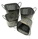 Vintage Garden Flower Pots Rustic Planters Lightweight Galvanized Metal Square Olive Bucket or Basket Set of Four (Succulent Flower Pots) Unique Rustic Storage Style