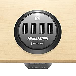 equinux tizi Tankstation 4x MEGA Toploader - Multiple USB charger for installation in desks, conference tables, and counter tops (incl. installation kit)