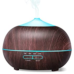 PECHAM 400ml Aromatherapy Essential Oil Diffuser, Wood Grain Cool Mist Ultrasonic Aroma Humidifier, Whisper Quiet - for Office, Baby Room, Bedroom, Conference Room, Fitness Room, Black