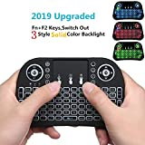 wishpower Mini Wireless Remote Keyboards with Automatic Sleep/Wake Pattern for Android TV Box Laptop PC, Switch Out 3 Styles Solid Color Backlight(Blue/Red/Green)