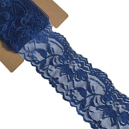 Lace Realm 2″×10 Yards Stretch Floral Pattern Lace Ribbon Trim Lace for Headbands Garters Decorating Floral Designing & Crafts - Blue Lace Ribbon