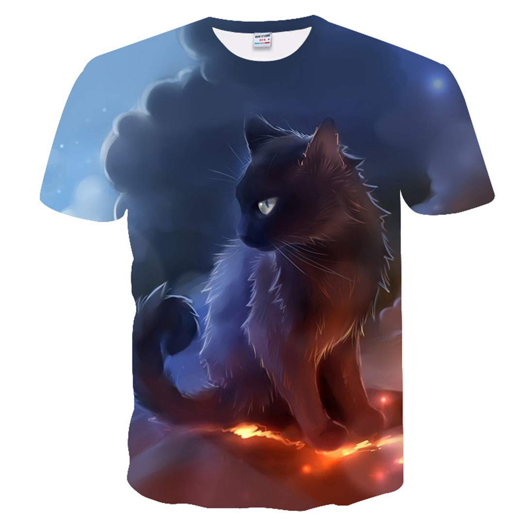 Men Women 3D Tshirt Print Two Cat Short Sleeve Summer Tops Cool T Shirt