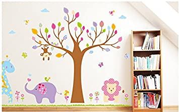 Large Colorful Tree & Jungle Animals Wall Sticker Nursery ...