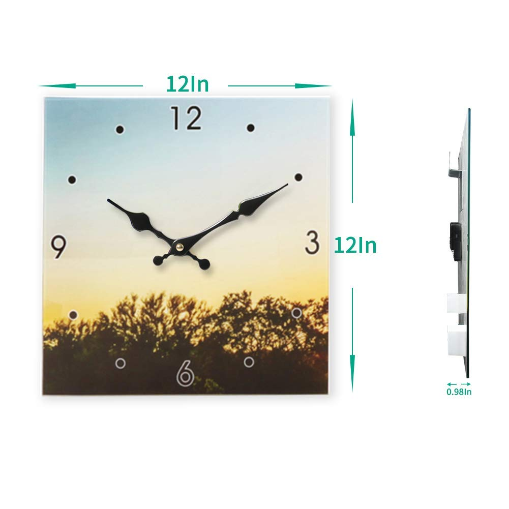 YIDIE Wall Clock,3 Pieces Square Home Customized Decorative Tempered Silent Non Ticking Battery Operated Wall Clock Easy to Read for Home Living Room Bedroom Office School
