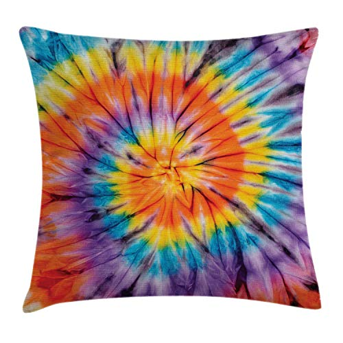 """Ambesonne Abstract Throw Pillow Cushion Cover, Abstract Odd Spiraling Concentric Circle Retro Famous Counter Culture Vintage, Decorative Square Accent Pillow Case, 20"""" X 20"""", Orange Blue"""