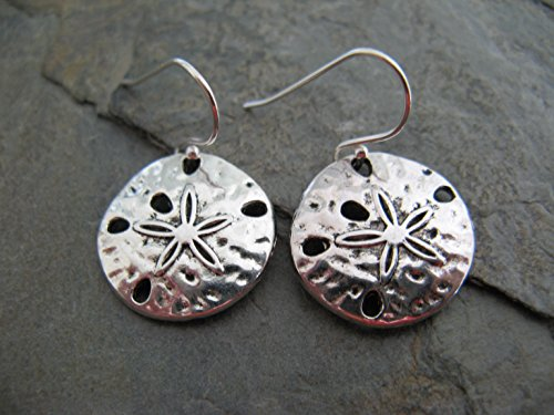 (Sand Dollar Charms and Sterling Silver Earrings Beach Sea Artisan Jewelry)
