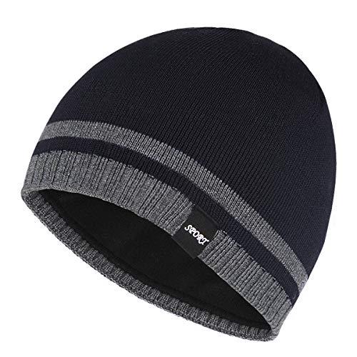 (Bodvera Mens Winter Beanie Hat Warm Knit Cuffed Plain Toboggan Ski Skull Cap (Navy))