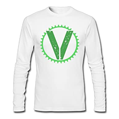 The Vegan Cyclist V Vegan Symbol Mens Tagless Long Sleeve T Shirt