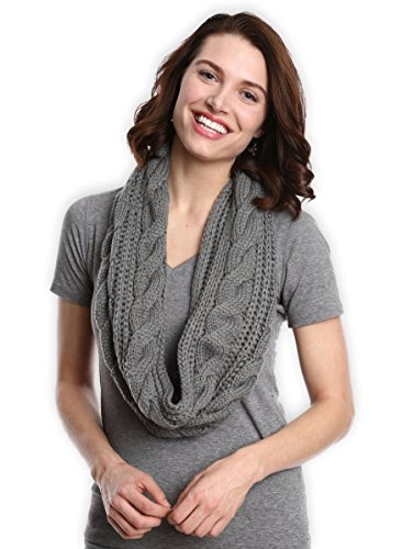 Long Knit Scarf Cable (Chunky Cable Knit Infinity Scarf by Tough Headwear - Stay Warm & Stylish Year Round - Circle Loop Scarves for Women & Men)